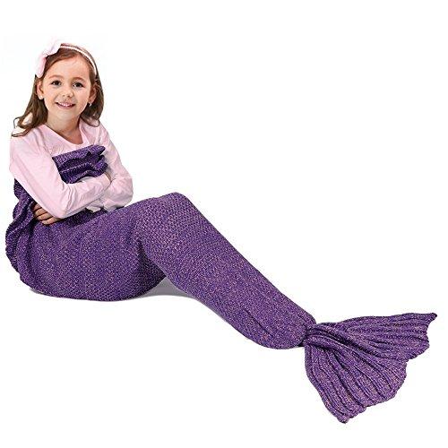 Meerjungfrau Schwanz Decke für Kinder, manuelle gehäkelte Decke, Jahreszeiten Warm, weiche Wohnzimmer, Schlafsack, bestes Geburtstagsgeschenk (Kinder Größe, Lila)