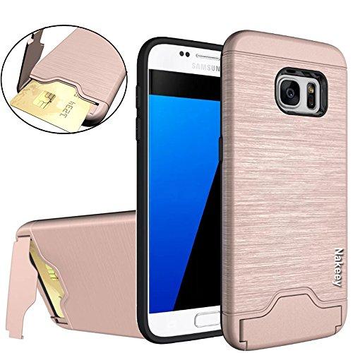 Galaxy S7 Edge Schutzhülle,Hülle für Galaxy S7 Edge,Nakeey [Card Slot] Dual-Layer Holder Bumper Handy Case Cover Schutzhülle Für Samsung Galaxy S7 edge,Rose Gold