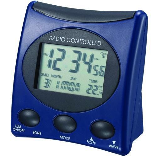 Der WT 221 ist ein klassischer Funkwecker mit Temperaturanzeige und digitaler Uhrzeitanzeige, blau - schwarz