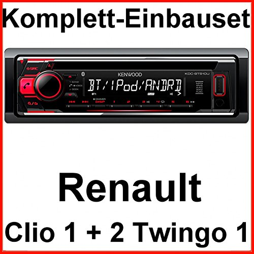 Komplett-Set Renault Clio 1 2 Twingo 1 KDC-BT510U Autoradio Bluetooth MP3 USB CD