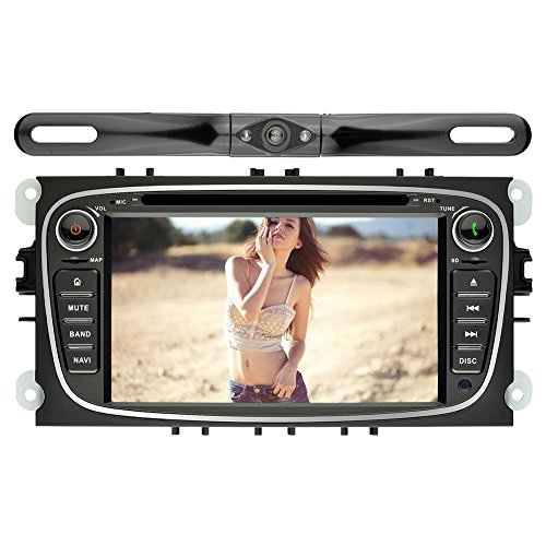 YINUO 7 Zoll 2 Din Touchscreen In Dash Autoradio Moniceiver DVD Player GPS Navigation 1080P OEM Stecker Canbus für Ford Mondeo (2007-2011) Ford S-Max (2008-2012) Ford Focus (2008-2010) Ford Galaxy (2010-2012), Schwarz, + Backup-Kamera ¡