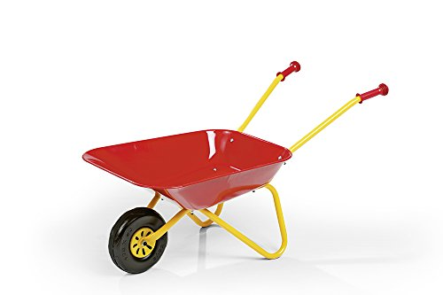 Rolly Toys 123001 Anhänger rollyMega Trailer, in 3 Richtungen Kippbar; mit Gewindekurbel, mit Heckkupplung (für Kinder ab 3 Jahren geeignet, zwei Achsen, Farbe Rot, Radkappen Farbe Gelb)