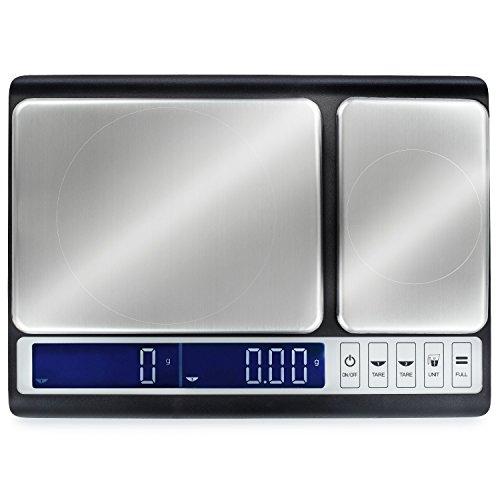 Smart Weigh Kulinarische Küchenwaage 10kg x 0,01g, Digitale Mit 2 Edelstahl Plattformen Zum Backen, Kochen, Essen und Zutaten