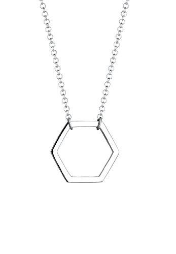 Elli Damen-Kette mit Anhänger Geo Hexagon 925 Silber 45 cm - 0109650916_45