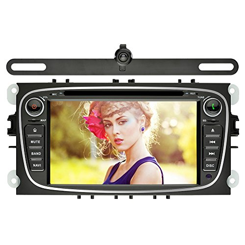 YINUO 7 Zoll 2 Din Touchscreen In Dash Autoradio Moniceiver DVD Player GPS Navigation 1080P OEM Stecker Canbus für Ford Mondeo (2007-2011) Ford S-Max (2008-2012) Ford Focus (2008-2010) Ford Galaxy (2010-2012), Schwarz, + Nachtsicht -Kamera ¡