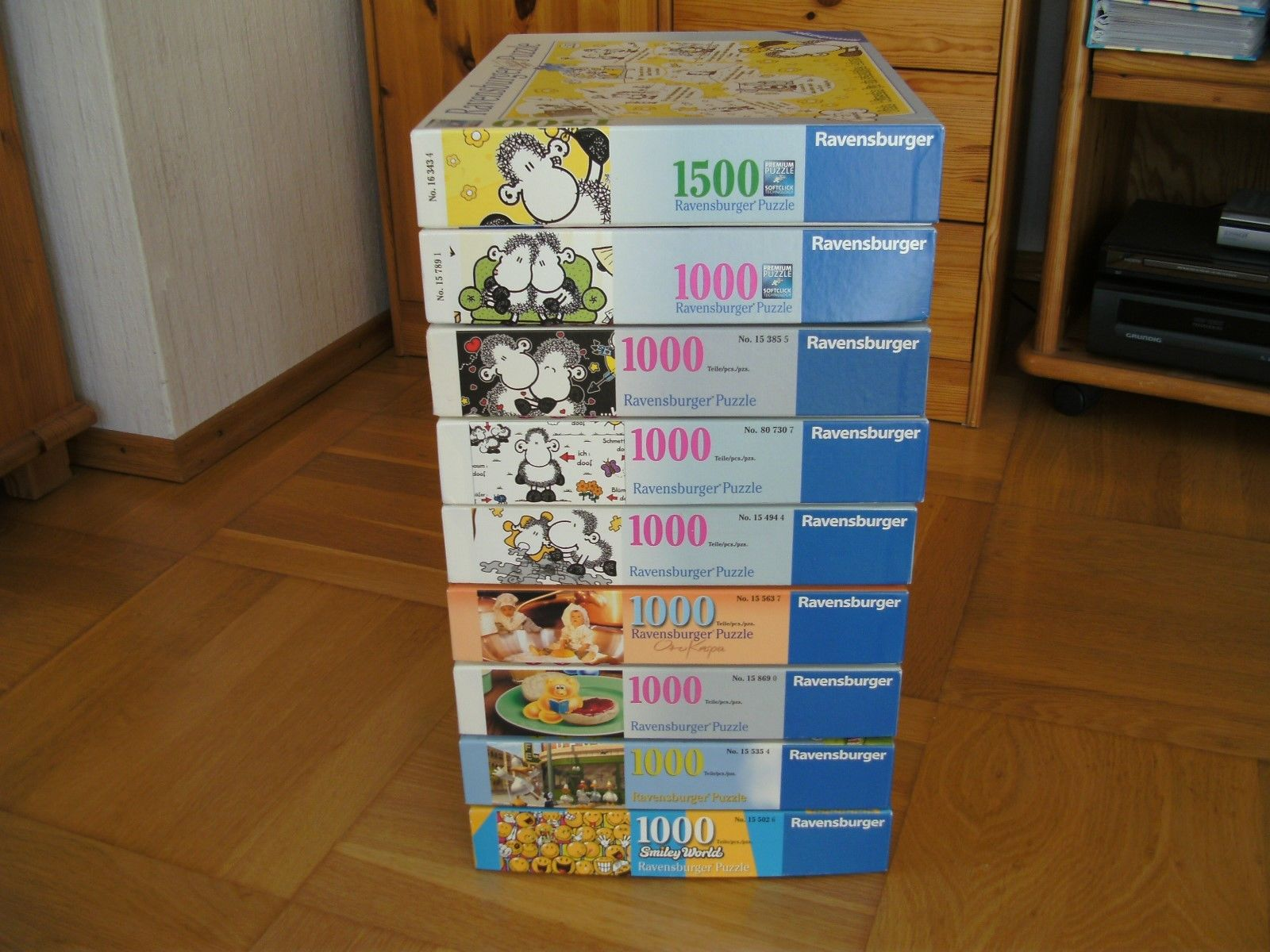 Puzzle Sammlung, 9x Ravensburger Konvolut,sheepworld,Gelini,Smiley guter Zustand