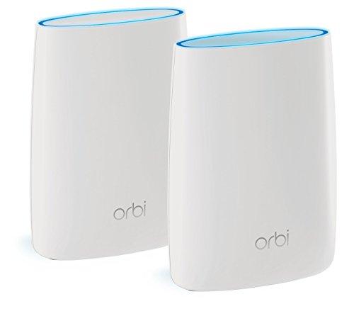 Netgear Orbi AC3000 Tri-band Mesh-Wlan-System mit bis zu 350 qm2 Raumabdeckung (Mesh Netzwerk, Single SSID, MU-MIMO, Wave 2, VLAN, Gäste Netzwerk, Quad Stream, Access Point Modus, IGMP Support, 7x Gigabit Ports, RBK50-100PES) weiß