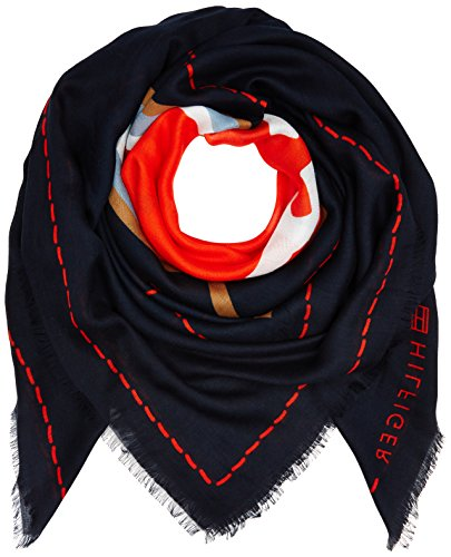 Tommy Hilfiger Damen Halstuch Heart Scarf, Mehrfarbig (Corporate Mix 901), One size (Herstellergröße: OS)