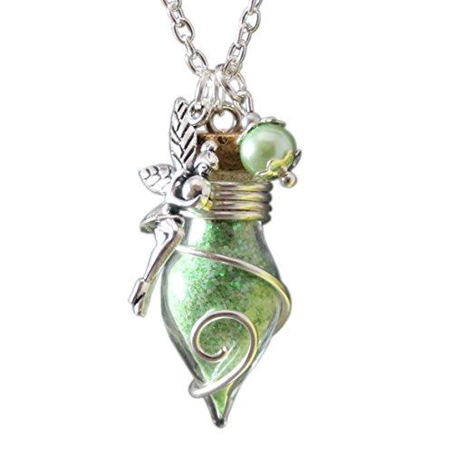 Glücksbringer Phiole der Lichtfee grün Damen Mädchen Frauen Kette Talisman nachtleuchtend Anhänger Amulett Glasfläschchen mit Feenstaub