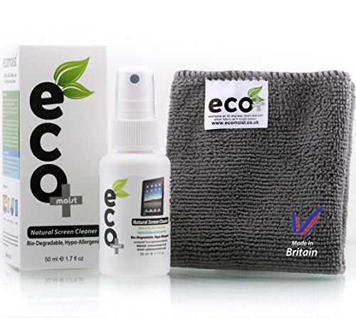 Ecomoist Bildschirmreiniger 50ml Komt mit Mikrofaser Handtuch, Naturprodukt ohne Chemikalien Grünes Produkt
