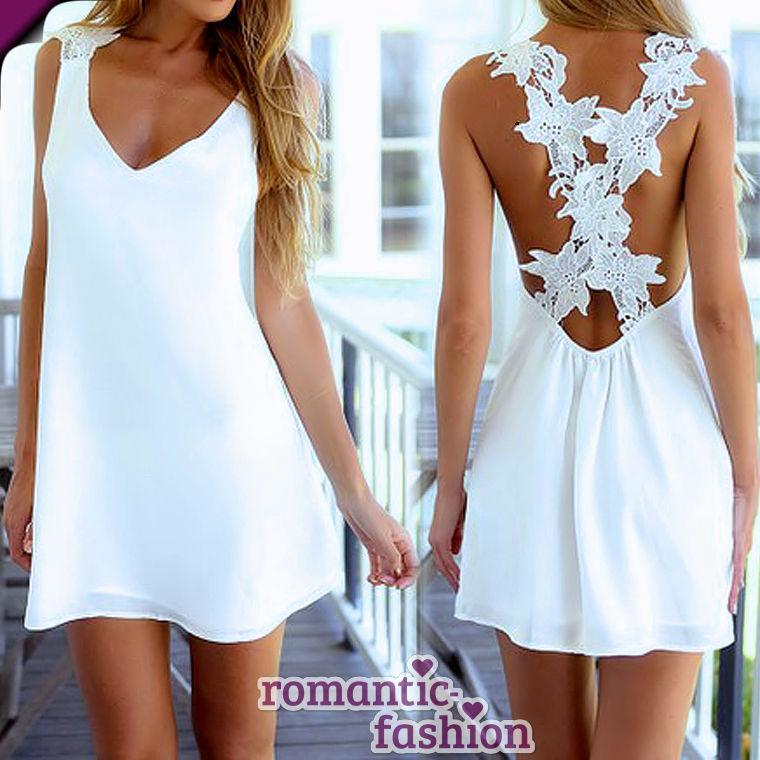 ?Größe 34-42 Sommerkleid Strandkleid Cocktailkleid in Weiß+NEU+B504?