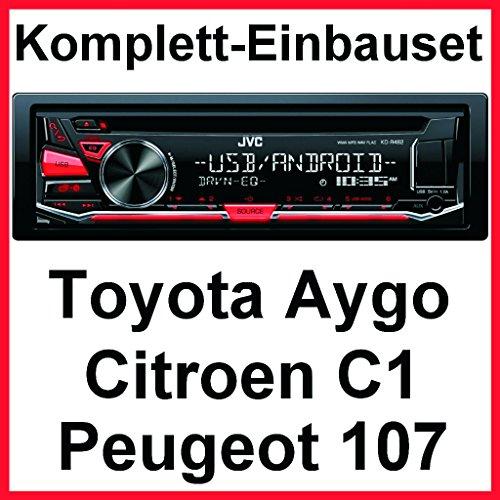 Komplett-Set Toyota Aygo Citroen C1 Peugeot 107 JVC KD-R482 Autoradio CD USB MP3