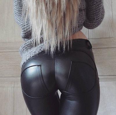Sexy Leggings Hose Peach / Leder Optik / New Trend Skinny / Look Chic / AKTION