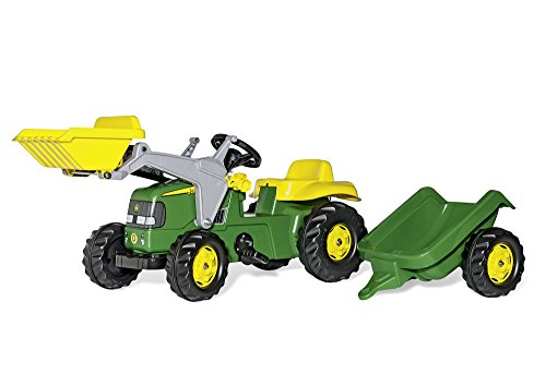 Rolly Toys 023110 Traktor rollyKid John Deere mit Frontlader rollyKid Lader, Anhänger rollyKid Trailer, Motorhaube öffenbar (geeignet für Kinder ab 2,5 Jahren, Farbe Grün)