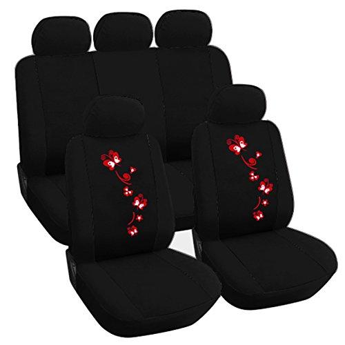 WOLTU AS7251 Auto Sitzbezug , Komplettset , PET , Schonsitz Bezug Set , universal passend , Sitzschutz , Stickerei Butterfly , Super Design , Schwarz , NEU & OVP