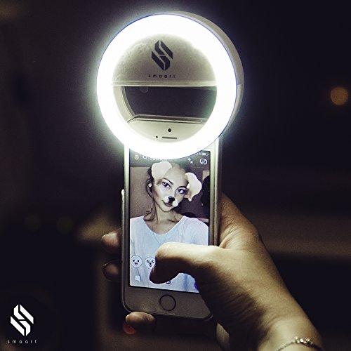 smaart® Selfie Ring-Licht für alle Handys   2017 Version   36 LED Light Lampen für runden Licht-Kreis-Effekt in den Pupillen   professionelles weißes Licht wie von Stylisten verwendet   3 verschiedene Helligkeitsstufen für perfekte Selfies   Batteriebetri