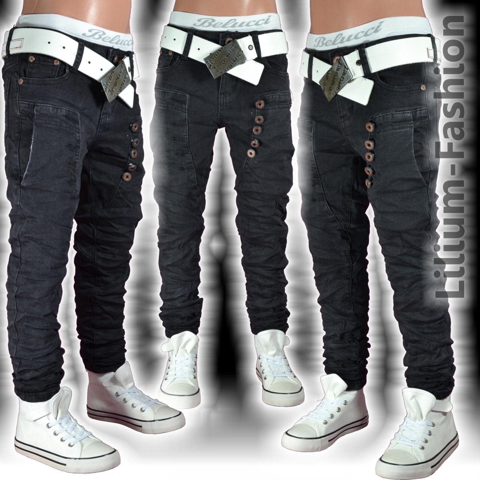 ST-012 Jeans Hose Junge Kinder schwarz SLIM-FIT Skinny Röhrenjeans Stretch