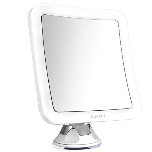 Auxent Kosmetikspiegel LED Beleuchtet mit 7-facher Vergrößerung und Starkem Saugnapf, 360° Schwenkbar, Schminkspiegel viereckig mit Blendfreier Beleuchtung für Zuhause und Unterwegs