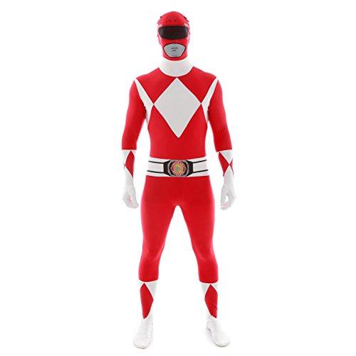 Offiziell Rot Power Ranger Morphsuit Verkleidung, Kostüm - Xlarge - 5'10-6'1 (176cm-185cm)
