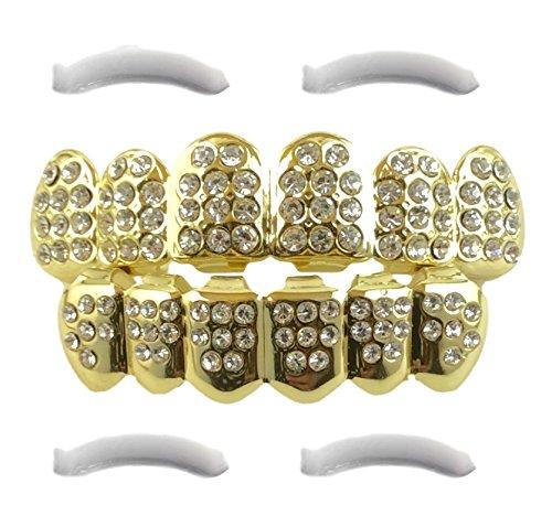14K vergoldet Iced Out Grillz mit CZ Diamanten-oben und unten Set + 2extra Formen Bars im lieferumfang enthalten
