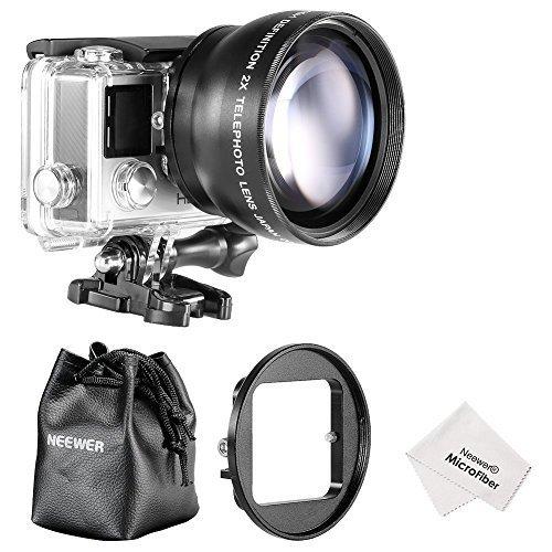 Neewer® 52MM High Definition Teleobjektiv Set für Gopro Hero 3 + / 4 umfasst Set: (1) 52MM 2X High Definition Teleobjektiv (inklusive Objektivtasche) + (1) 52mm Objektiv-Filter-Ring-Adapter + (1) Mikrofaser Reinigungstuch