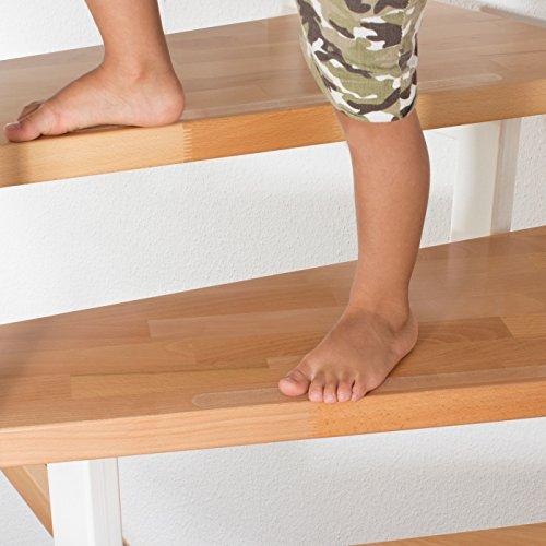 HAFTPLUS Anti-Rutsch-Streifen 20 Stück - Die Beste Alternative Zu Treppenmatten. Transparente Antirutsch-Aufkleber (45 cm x 2 cm)