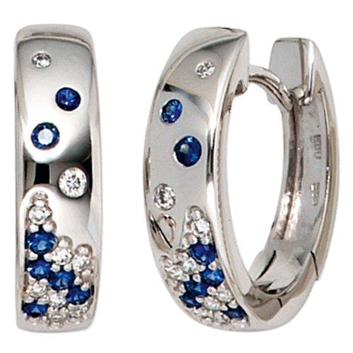 JOBO Creolen 585 Weißgold 18 Diamant-Brillanten 0,10ct. 14 Safire Gold-Ohrringe