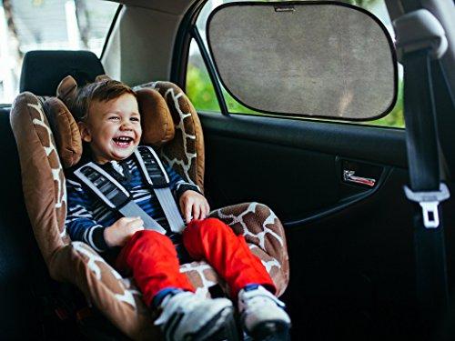 Auto SONNENSCHUTZ / SONNENBLENDE im 2er Set für Baby und Kind von Outback Shades - schwarz - Hitzeschutz mit UV Schutz für die Seitenfenster. Praktisch: Universelle Größe 48 x 30 cm, selbsthaftend