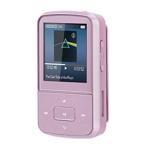 Mini Clip 8GB MP3 Player mit Silikon Hülle Tragbare 24 Stunden Wiedergabe Musik Player mit FM, von AGPTEK G05, Rosegold