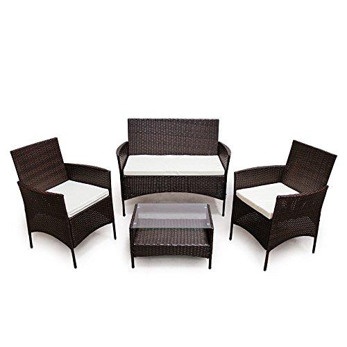 POLY RATTAN Lounge Gartenset Sofa Garnitur Polyrattan Gartenmöbel (Braun)