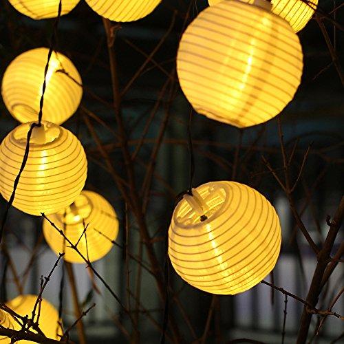 InnooTech 20er LED Solar Lichterkette Lampions Garten Außen Innen 3,3 Meter Warmweiß, Solar Beleuchtung für Party, Weihnachten, Outdoor, Fest Deko usw.