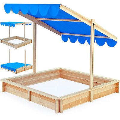 Sandkasten Spielhaus Holz verstellbares Dach Sandbox Sandkiste Kinder 120x120cm