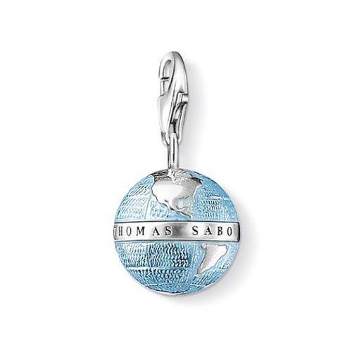 Thomas Sabo Charm Club, Damen Charm-Anhänger Weltkugel, 925er Sterlingsilber, geschwärzt, blau emailliert
