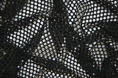 BLACK FISHNET AIRTEX MESH FABRIC 100% POLYESTER NATURAL STRETCH 5mm HOLES