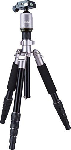 Rollei Compact Traveler No. 1 - Leichtes Reisestativ aus Aluminium mit geringem Packmaß, Schnellklemmenverschraubung und 360° Panorama-Kugelkopf - Titan