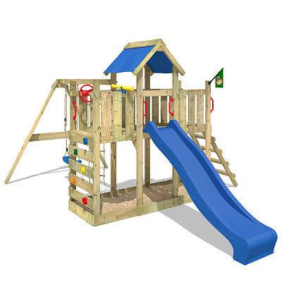 WICKEY TwinFlyer Spielturm Holz Klettergerüst Garten Stelzenhaus Kinder Baumhaus