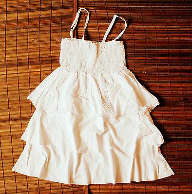 Kleid Sommerkleid in wollweiß mit 3 lagigem Rock Spaghetti Träger