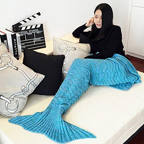 Wuiyepo Meerjungfrau Endstück Decke Alle Jahreszeiten gestrickte handgemachte Meerjungfrau-Decke, schlafende Decke Tasche Schlafende gemütliche Meerjungfrau für Arten Erwachsene Teens (Blau)