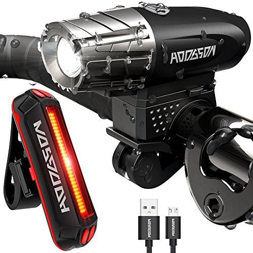 HODGSON Fahrradlicht USB Wiederaufladbare Fahrradbeleuchtung Frontlicht Super Hell und Rücklicht LED, Spritzwassergeschützt und Einfach zu Installieren und Demontieren für Sicheres Radfahren