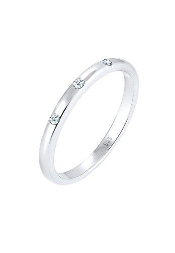 Diamore Damen-Stapelring 925 Silber rhodiniert Diamant (0.06 ct) weiß Rundschliff Kristall Gr. 56 (17.8) - 0601360317_56