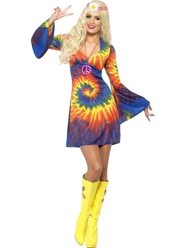 Ladies Hippy Tie Dye Costume 60's 70's Fancy Dress