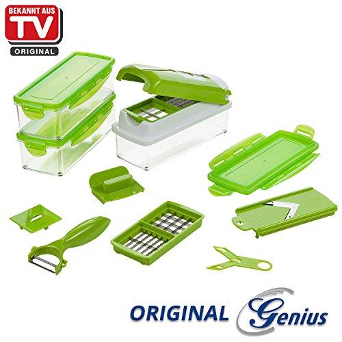 Genius Nicer Dicer Smart | Kiwi-Grün | 13 Teile | Alles-Schneider | Schneiden | Hobeln | Schälen | Aufbewahren | Schneid-Gerät |TV-NEU