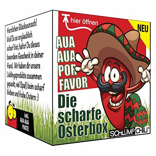 Die scharfe Osterbox - ein Geschenk für Ostern - für Männer und Frauen! Das kleine Ostergeschenk inkl. Aua Aua Paste!
