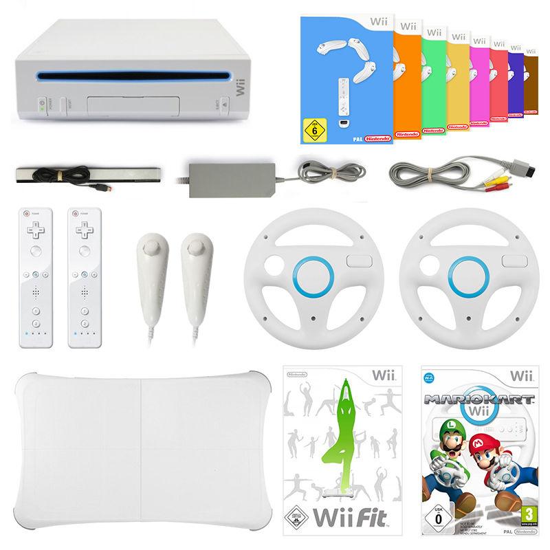 Konsole + Remote + Mario Kart + Wii Fit + 8 Spiele + Balance Board