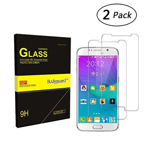 Bodyguard 2 Stück Samsung Galaxy S6 Panzerglas Schutzfolie, 9H Härte Displayschutz 0.3mm Ultradünner 99% Ultra-klar fürSamsung Galaxy S6 3D Touch Kompatibel, Oleophobe Beschichtung gegen Öl, Schweiß oder Wasser