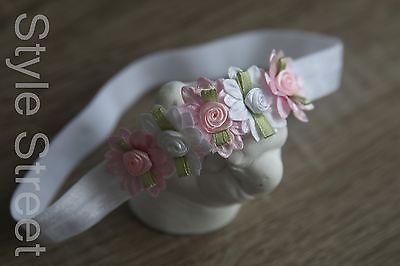 Stirnband Blüten Haarband Baby Mädchen Taufe Haarschmuck Kopfband Weiss Rosa