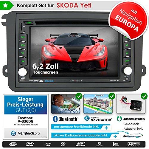 2DIN Autoradio CREATONE V-336DG für Skoda Yeti (ab 11/2009) mit GPS Navigation (Europa), Bluetooth, Touchscreen, DVD-Player und USB/SD-Funktion