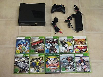 Xbox 360 Konsole Slim Schwarz Kinect Ready inkl. 3 Gratis Spiele + Controller