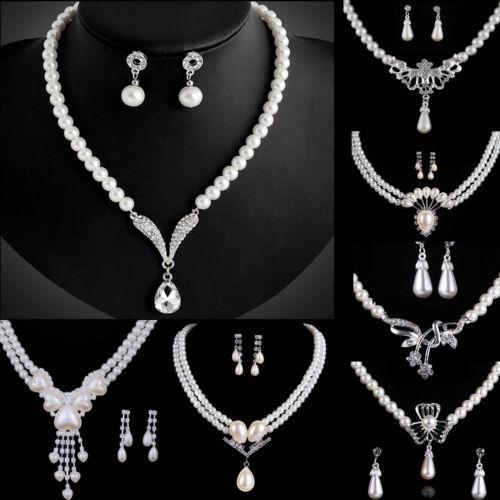 Strass Perlen Schmuck Set Halskette+Ohrringe Brautschmuck Hochzeit Silber NEU