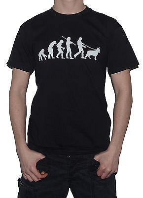 NEW German Shepherd Evolution T-Shirt - Funny Evolution of Man  Dog Walking Top